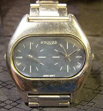 Nice Men's S'Squre Dual Face Home Local Chrome Water Resistant Watch
