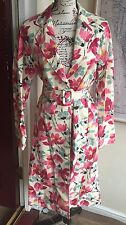 Ladies Day Birger Et Mikkelsen Floral Flower Print Belted Coat 38 U.K. 12