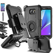 black new for Samsung Galaxy Note 5 defender case w/Belt Clip&screen protector