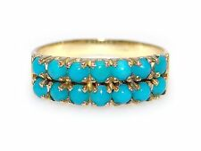 18k Yellow Gold Double Row Bead Round Turquoise 5mm Wide Stack Band Ring Size 6