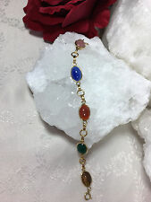 Lovely 14k Gf Vintage Jewelry Scarab Bracelet 5 Stones Egyptian Luck Rebirth