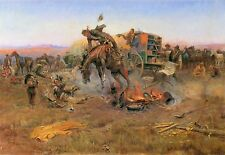 Camp Cook's Troubles by Charles M. Russell Western Horses Cattle Drive  19x13