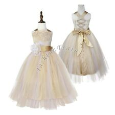 Kid Communion Party Prom Princess Pageant Bridesmaid Wedding Flower Girl Dress 8