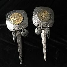 ESTATE STERLING SILVER VERMEIL DETAIL MATT FIRTH ARTISAN DANGLE POST EARRINGS 2""