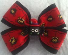 "Girls Hair Bow 4"" Spooky Halloween Red Spider Flatback French Barrette"