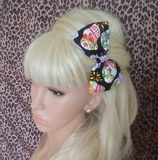 "HANDMADE 5"" BLACK CANDY SUGAR SKULL COTTON FABRIC BOW HAIR CLIP ROCKABILLY"
