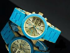 DIESEL WOMEN'S COMBINATION RUBBER AND METAL BLUE/GOLD WATCH DZ5360