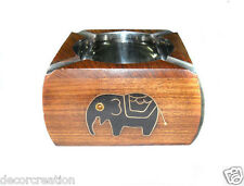 Wooden Antique Black Elephant Cigarette Ashtray Cigar Ash Tray Gift Item