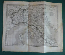 "1830 CIRCA ""CARTINA DELL'ITALIA SETTENTRIONALE"" INCISIONE SU ACCIAIO ORIGINALE"