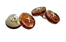 Baltic amber and sterling silver double-sided cufflinks in cognac,