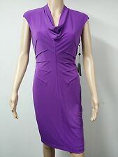 NEW FAST to AUS - Adrianna Papell Tuck Jersey Sleeveless Dress - Size 10 Purple