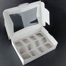 Pack of 50 Window Cupcake Box WHITE Each holds 12 - Inserts Included
