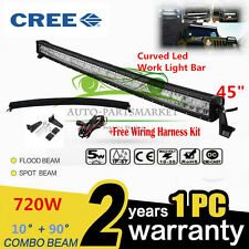 "CREE CURVED 720W 45"" LED Combo Work Light Bar Offroad Driving Lamp FLOOD SPOT"