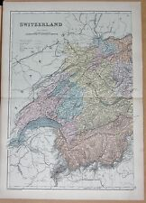 1890 LARGE VICTORIAN MAP - SWITZERLAND WEST, BERN, FRIBURG, LAUSANNE, BASEL
