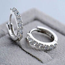 Fashion Women Jewelry White Gemstones Crystal Sterling Silver Hoop Earrings New