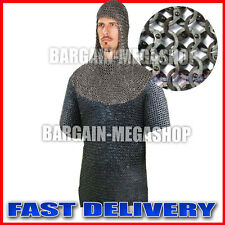 Medieval Flat Riveted w Flat Washer Chainmail Shirt With Coif Chain Mail Costume