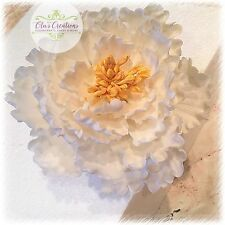 Handmade Sugar Paste flower White Open Peony Wedding  Christening Cake Topper