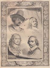 A.Houbraken (1660-1719)  Jan Weenix, David Beck, Simon Peter Tilmans and Hendrik
