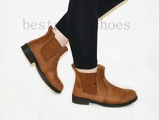 Womens Ladies Girl Faux Suede Flat Low Block Heel Chelsea Ankle Boots Shoes Size