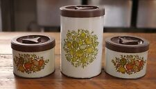 Vtg BALLONOFF Retro Kitchen Vegetable Theme Tea Coffee Flour Metal Canisters