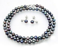 Black Freshwater Pearl Necklace and Earrings Set with Sterling Silver