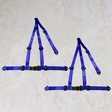 PAIR OF BLUE 3 POINT RACING SEAT BELT HARNESSES FOR CAR/OFF ROAD/4x4 HARNESS