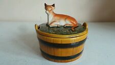 Old Ceramic Butter Dish Container Storage Round Milk Bucket W Cow Finial Lid Des