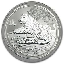 Perth Mint Australia $ 0.5 Lunar Series II Tiger 2010 1/2 oz .999 Silver Coin