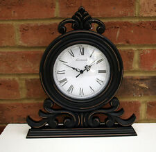 Large Ornate Scroll Mantel Clock Black Wood Shabby Chic 33x29 cm Mantelpiece New