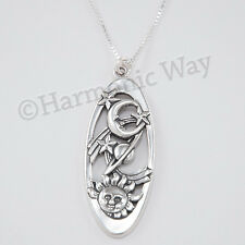"Large CELESTIAL Pendant Shooting STAR Sun MOON 925 Sterling Silver 18"" Necklace"
