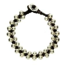 Round Silver Alloy Beaded Bracelet Jewelry Waxed Linen Wristband Black