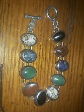 Vintage Sterling Semi-Precious Stone Inlay Toggle  Bracelet 925  7 1/2 Inches