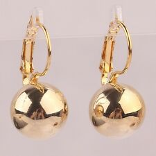 18K YELLOW GOLD FILLED LEVER BACK BALL DROP DANGLE EARRINGS - UK SELLER