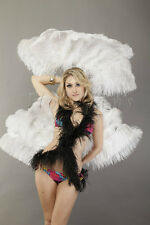 "single layer White Ostrich Feather Fan Burlesque friend 25""x45"" in gift box"