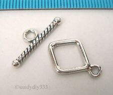 1x BALI OXIDIZED STERLING SILVER PLAIN TOGGLE CLASP BEAD 12.8mm #694