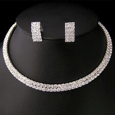 NR2 Party Wedding Bridal Crystal Necklace Choker Earring GP Silver Jewelry Set