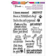 New stampendous RUBBER STAMP clear Acrylic CAT SAYINGS SET FREE US SHIP
