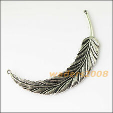 2 New Feather Leaf Connectors Tibetan Silver Tone Charms Pendants 18x98mm
