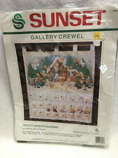 Sunset Gallery Crewel Nativity Advent Calendar 18000 PARTIAL Kit Vtg 1989