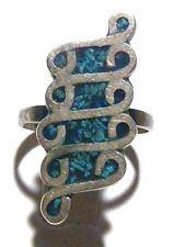"""MEXICAN MEXICO DESIGNER """"EVD"""" STERLING SILVER TURQUOISE VINTAGE ESTATE RING SZ 4"""