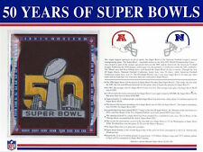 50 YEARS of SUPER BOWL Willabee & Ward 2016 COMMEMORATIVE NFL PATCH & INFO SHEET