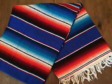 "Hand Woven Mexican Serape Saltillo Throw Blanket - X Large 60"" x 84"" Blue"