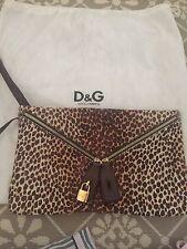 D&G Leopard Print Hair Calf Clutch Bag