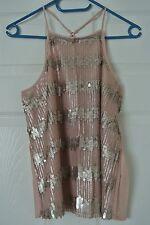 Hollister Sequin Embellished Cross-Back Cami - Sz. L - Pink