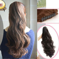 One Piece Long Wavy Curly Ponytail piece Hair Extensions Claw Clip in Pony tail