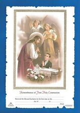 FIRST HOLY COMMUNION Certificate Jesus with BOY & angels Catholic picture Italy