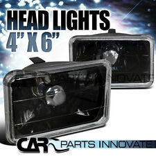4X6 Clear Cut Glass Lens Black Square Headlights Lamps H4 H4666 Conversion Kit