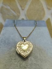 Estate GA 14k yellow gold heart locket pendant XO love hugs kisses textured cute