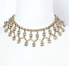 EGYPTIAN REVIVAL CLEAR CRYSTAL RHINESTONE Designer Choker Bib Pendant Necklace