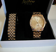 Gold Finish Iced Out Techno Pave Rapper Style Watch/Bracelet Combo Set